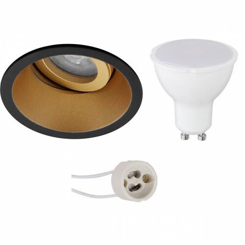 LED Spot Set - Aigi - Pragmi Zano Pro - GU10 Fitting - Inbouw Rond - Mat Zwart/Goud - 8W - Warm Wit 3000K - Kantelbaar - Ø93mm