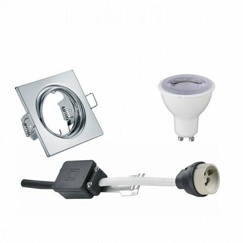 LED Spot Set - Trion - GU10 Fitting - Dimbaar - Inbouw Vierkant - Glans Chroom - 6W - Helder/Koud Wit 6400K - Kantelbaar 80mm