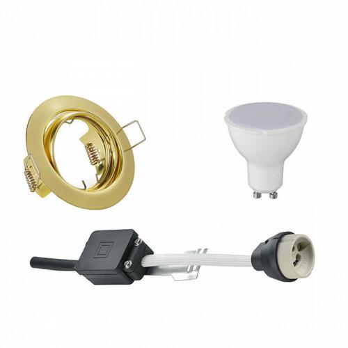 LED Spot Set - Aigi - Trion - GU10 Fitting - Inbouw Rond - Mat Goud - 6W - Warm Wit 3000K - Kantelbaar Ø83mm