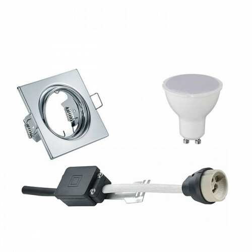 LED Spot Set - Trion - GU10 Fitting - Inbouw Vierkant - Glans Chroom - 6W - Warm Wit 3000K - Kantelbaar 80mm
