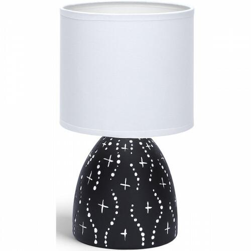 LED Tafellamp - Tafelverlichting - Aigi Atar - E14 Fitting - Rond - Mat Zwart - Keramiek
