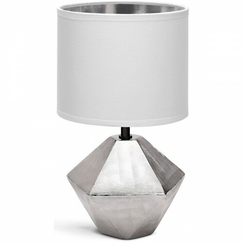 LED Tafellamp - Tafelverlichting - Aigi Uynimo - E14 Fitting - Rond - Mat Wit/Zilver - Keramiek
