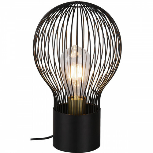 LED Tafellamp - Tafelverlichting - Trion Divo - E27 Fitting - Rond - Mat Zwart - Aluminium