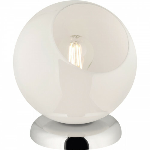 LED Tafellamp - Tafelverlichting - Trion Klino - E27 Fitting - Rond - Mat Chroom - Aluminium