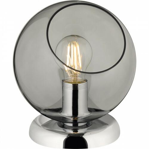 LED Tafellamp - Tafelverlichting - Trion Klino - E27 Fitting - Rond - Mat Chroom Rookkleur - Aluminium