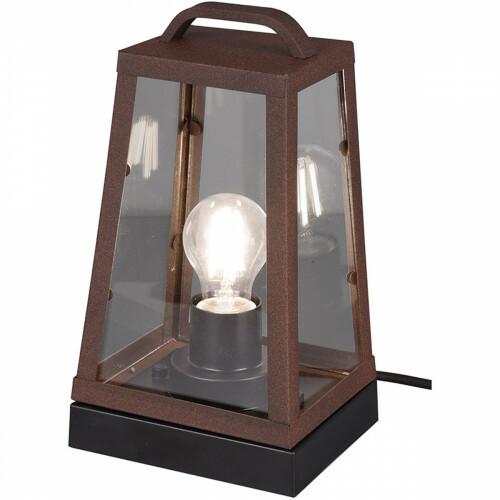 LED Tafellamp - Trion Aknaky - E27 Fitting - Vierkant - Roestkleur - Aluminium