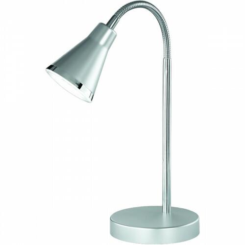 LED Tafellamp - Trion Arora - 3W - Warm Wit 3000K - Rond - Glans Titaan - Kunststof