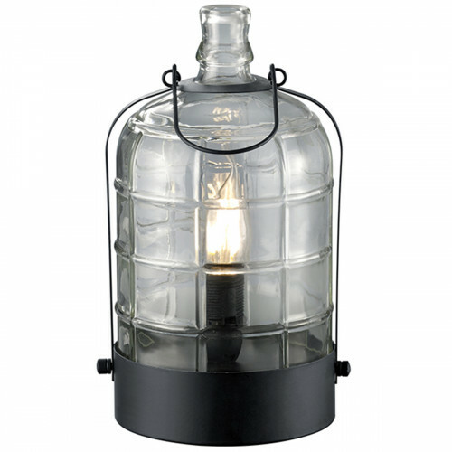 LED Tafellamp - Trion Astro - E14 Fitting - Rond - Mat Zwart - Aluminium/Glas
