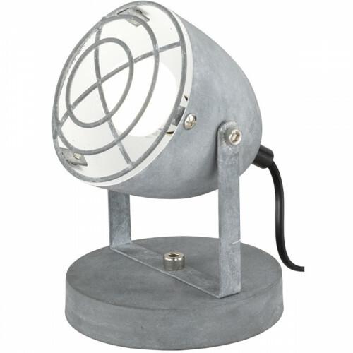 LED Tafellamp - Trion Camini - E14 Fitting - Rond - Beton Look - Aluminium