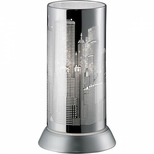 LED Tafellamp - Trion Cotin - E14 Fitting - Rond - Wit Licht - Mat Chroom - Aluminium