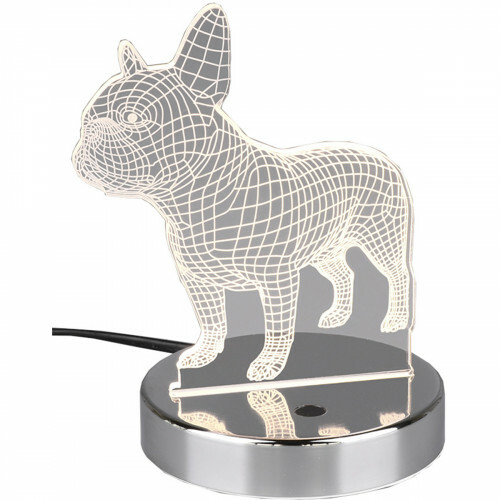 LED Tafellamp - Trion Dog - 3W - RGBW - Rond - Glans Chroom - Aluminium