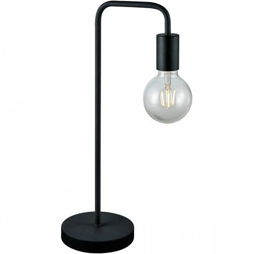 LED Tafellamp - Trion Dolla - E27 Fitting - Rond - Mat Zwart - Aluminium