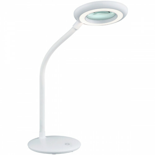 LED Tafellamp - Trion Dorano - Dimbaar - Vergrootglas - USB Oplaadbaar - Flexibele Arm - Wit