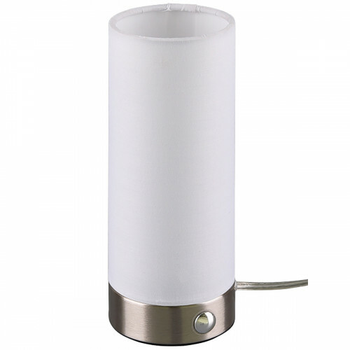 LED Tafellamp - Trion Emiron - 5W - Warm Wit 3000K - Dimbaar - Rond - Mat Nikkel/Wit - Aluminium/Textiel