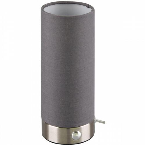LED Tafellamp - Trion Emiron - 5W - Warm Wit 3000K - Dimbaar - Rond - Mat Nikkel/Grijs - Aluminium/Textiel