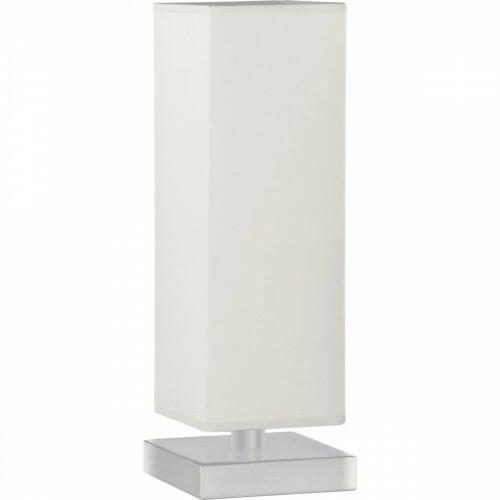 LED Tafellamp - Trion Piti - E14 Fitting - Dimbaar - Vierkant - Mat Nikkel/Wit - Aluminium/Textiel