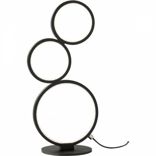LED Tafellamp - Trion Rondy - 17W - Warm Wit 3000K - Dimbaar - Rond - Mat Zwart - Aluminium