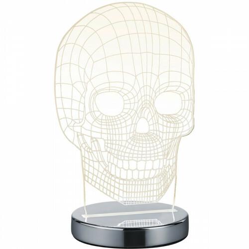LED Tafellamp - Trion Skelly - 7W - Aanpasbare Kleur - Rond - Glans Chroom - Aluminium