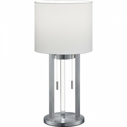 LED Tafellamp - Trion Tondira - 6W - Warm Wit 3000K - E27 Fitting - 4-lichts - Rond - Mat Nikkel - Aluminium/Textiel