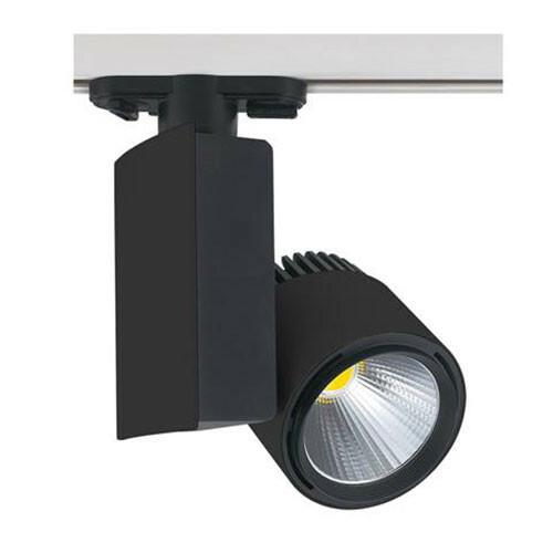 LED Railverlichting - Track Spot - 40W 1 Fase - Rond/Rechthoek - Natuurlijk Wit 4200K - Mat Zwart Aluminium