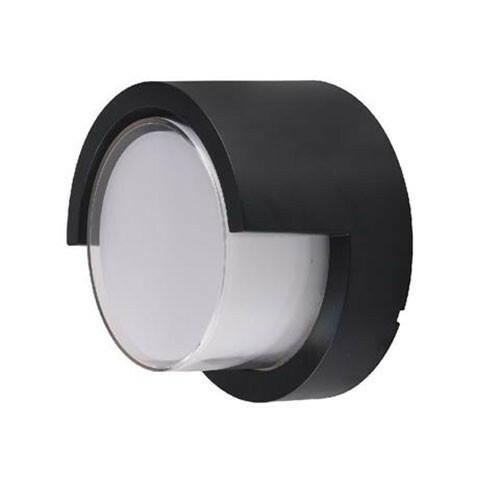 LED Tuinverlichting - Buitenlamp - Agusa 1 - Wand - Kunststof Mat Zwart - 12W Natuurlijk Wit 4200K - Rond