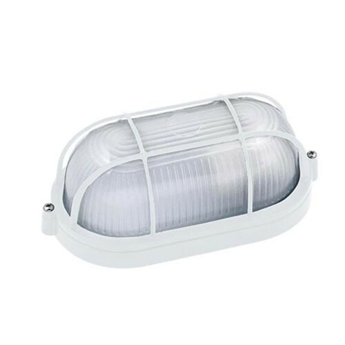 LED Tuinverlichting - Buitenlamp - Torina - Wand - Aluminium Mat Wit - E27 - Ovaal