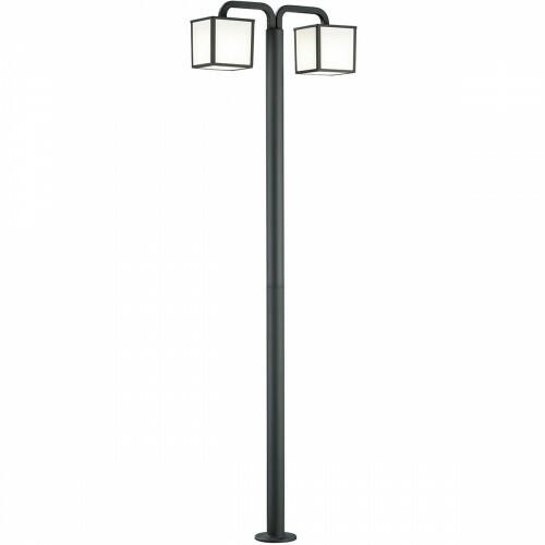 LED Tuinverlichting - Buitenlamp - Trion Cubirino - Staand - 5W - E27 Fitting - 2-lichts - Mat Zwart - Aluminium