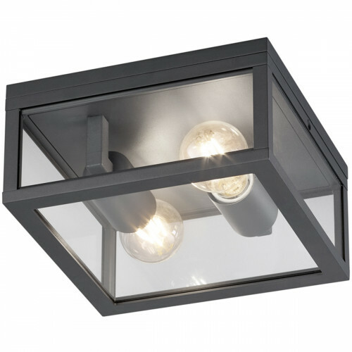 LED Tuinverlichting - Tuinlamp Plafond - Trion Garinola - E27 Fitting - 2-lichts - Mat Zwart - Aluminium