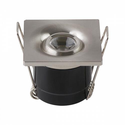 LED Veranda Spot Verlichting - 1W - Natuurlijk Wit 4200K - Vierkant - Mat Chroom - Aluminium
