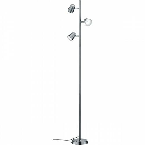 LED Vloerlamp - Trion Narca - 12W - Warm Wit 3000K - 3-lichts - Dimbaar - Rond - Mat Nikkel - Aluminium