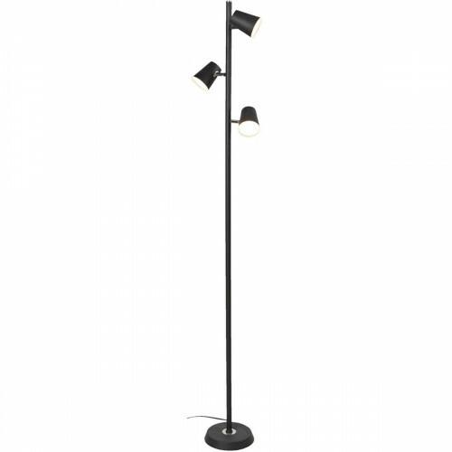 LED Vloerlamp - Trion Narca - 12W - Warm Wit 3000K - 3-lichts - Dimbaar - Rond - Mat Zwart - Aluminium
