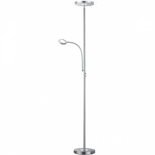 LED Vloerlamp - Trion Aciban - 18W + 4W - Warm Wit 3000K - 2-lichts - Dimbaar - Rond - Mat Nikkel - Aluminium