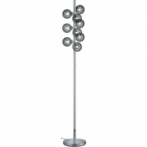 LED Vloerlamp - Trion Alionisa - G9 Fitting - 9-lichts - Dimbaar - Rond - Glans Chroom Rookglas - Aluminium