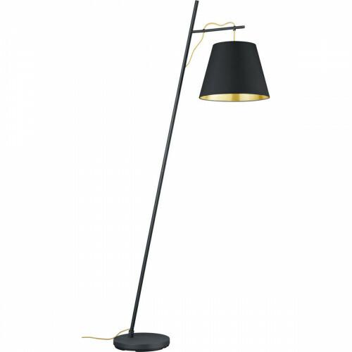 LED Vloerlamp - Trion Andra - E27 Fitting - Rond - Mat Zwart - Aluminium/Textiel