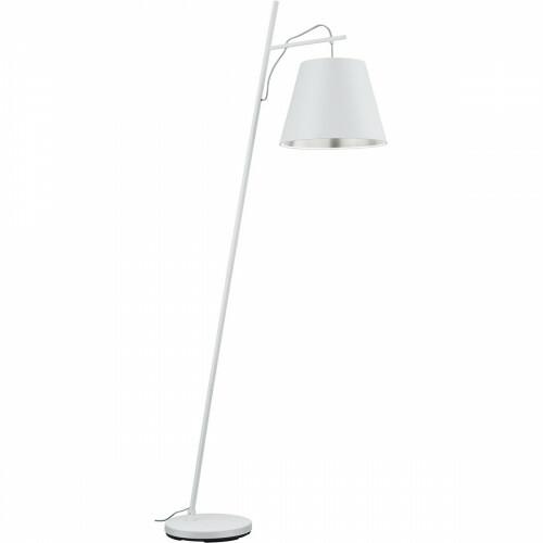 LED Vloerlamp - Trion Andra - E27 Fitting - Rond - Mat Wit - Aluminium/Textiel
