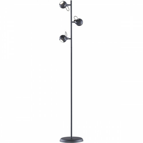 LED Vloerlamp - Trion Bosty - GU10 Fitting - 3-lichts - Rond - Mat Zwart - Aluminium