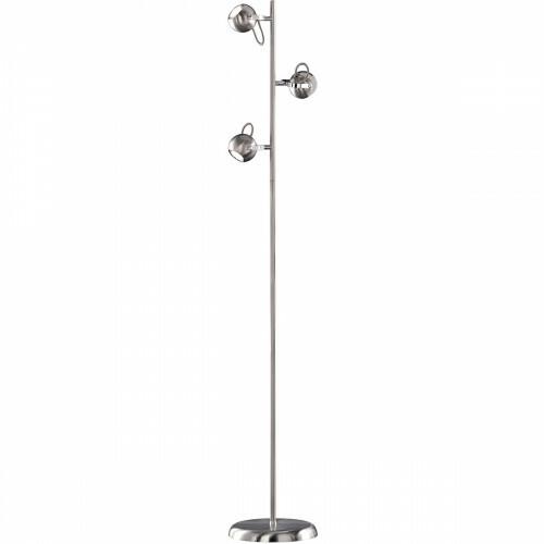 LED Vloerlamp - Trion Bosty - GU10 Fitting - 3-lichts - Rond - Mat Nikkel - Aluminium