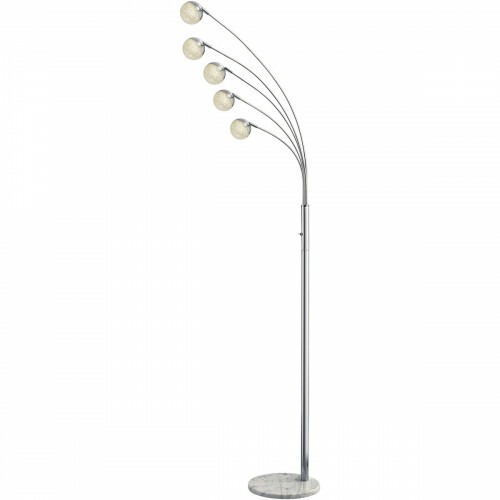 LED Vloerlamp - Trion Chiso - 15W - Warm Wit 3000K - 5-lichts - Rond - Glans Chroom - Aluminium