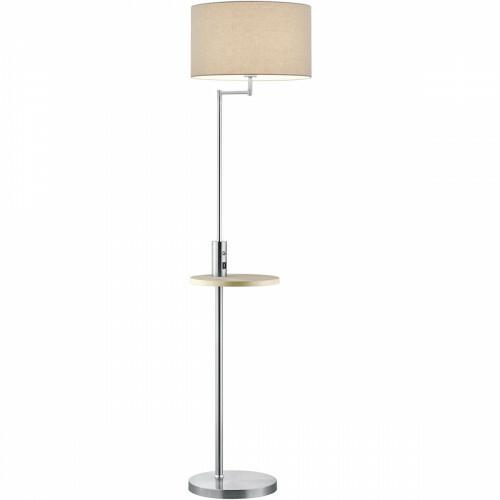 LED Vloerlamp - Trion Cliso - E27 Fitting - Rond - Mat Nikkel - Aluminium