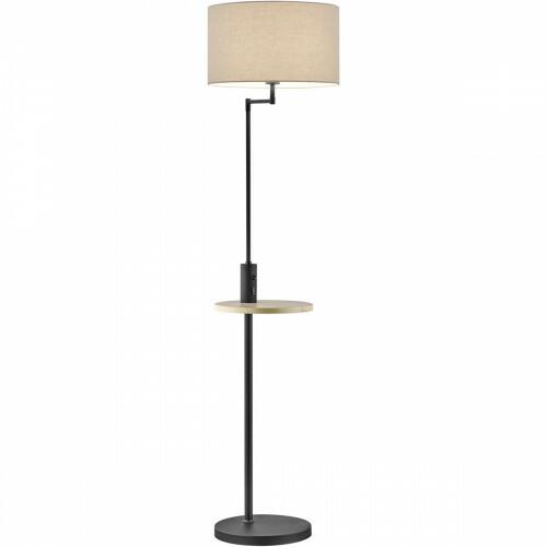 LED Vloerlamp - Trion Cliso - E27 Fitting - Rond - Mat Zwart - Aluminium