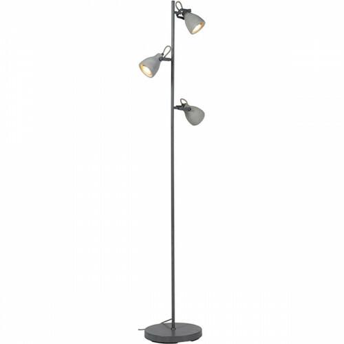 LED Vloerlamp - Trion Conry - GU10 Fitting - 3-lichts - Rond - Mat Grijs Beton Look - Aluminium/Beton