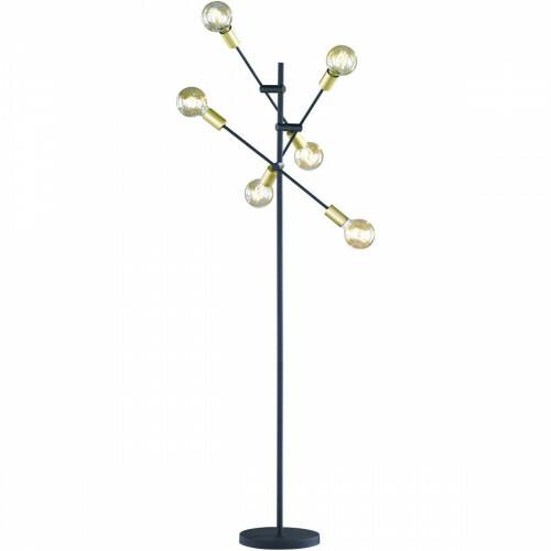 LED Vloerlamp - Trion Ross - E27 Fitting - Rond - Mat Goud - Aluminium
