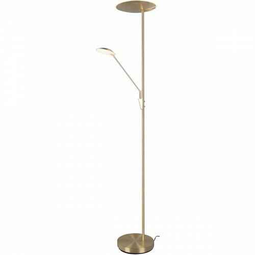 LED Vloerlamp - Trion Eddy - 40W - Aanpasbare Kleur - Rond - Mat Goud - Aluminium