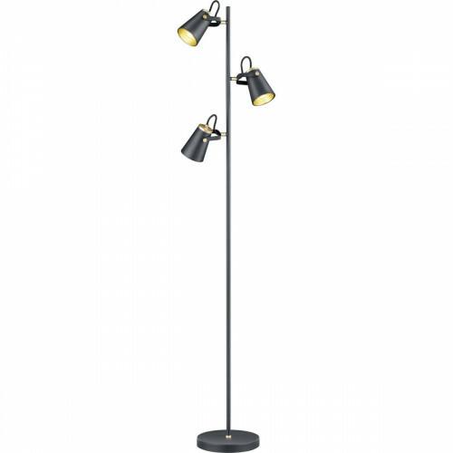 LED Vloerlamp - Trion Edwy - E14 Fitting - 3-lichts - Rond - Mat Zwart - Aluminium