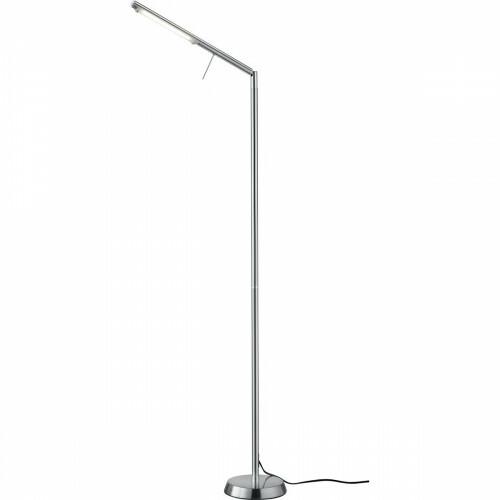 LED Vloerlamp - Trion Filiga XL - 6W - Warm Wit 3000K - 1-lichts - Dimbaar - Rond - Mat Nikkel - Aluminium