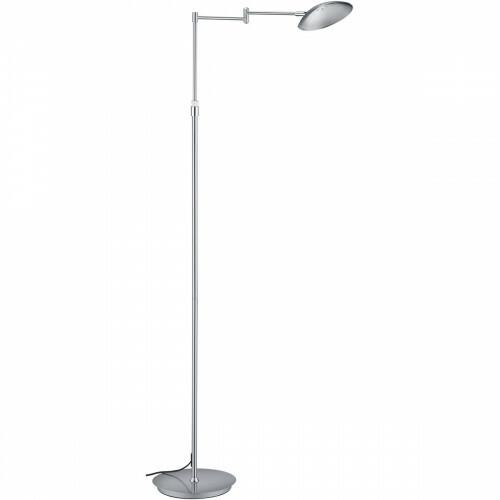 LED Vloerlamp - Trion Kalka - 10W - Warm Wit 3000K - Dimbaar - Rond - Mat Nikkel - Aluminium