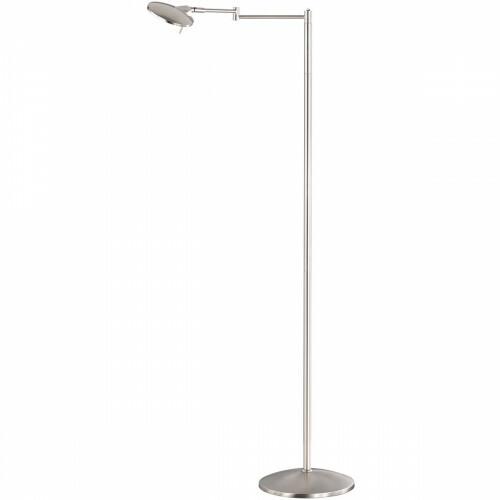 LED Vloerlamp - Trion Kazin - 8W - Warm Wit 3000K - Dimbaar - Rond - Mat Nikkel - Aluminium