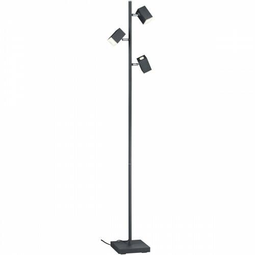LED Vloerlamp - Trion Laginos - 12W - Warm Wit 3000K - 3-lichts - Dimbaar - Rond - Mat Zwart - Aluminium