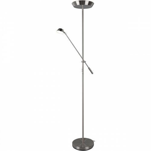 LED Vloerlamp - Trion Ohara - 20W - Warm Wit 3000K - Rond - Mat Nikkel - Aluminium