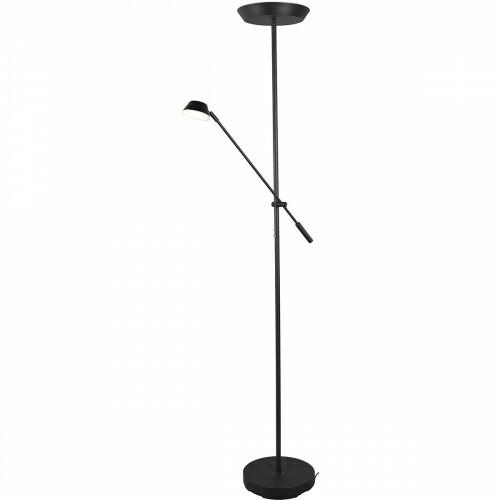 LED Vloerlamp - Trion Ohara - 20W - Warm Wit 3000K - Rond - Mat Zwart - Aluminium